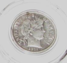 1911 Barber Dime Almost Uncirculated