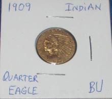 1909 $2.50 Indian Head Quarter Eagle Gold Coin