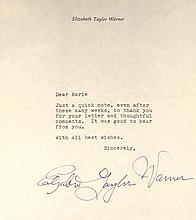 Elizabeth Taylor Signed Letter [with envelope]