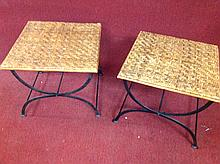 Pair of iron patio end tables