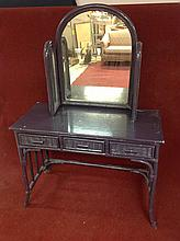 Painted wicker Vanity with mirror
