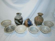 COLLECTION OF STONEWARE ART POTTERY PIECES