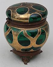Bohemian green glass dresser box.