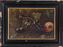 Still life of fruit, o/b, illegibly signed.