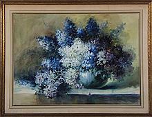 KM FLOOD, floral still life, watercolor.