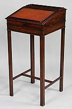 Small rosewood slant front standing writing desk