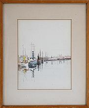 Boats in harbor, watercolor