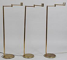 Set of (3) brass Koch & Lowry floor lamps.