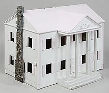 Painted wood dollhouse with six rooms