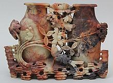 Asian carved soapstone double vase
