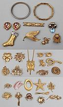 Group of (30) gold tone costume jewelry
