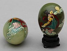 Pair of Asian hand painted stone eggs