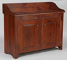 19th century American pine two door cabinet
