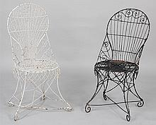 Group of (2) wire garden chairs.