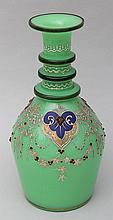 Bohemian enameled green glass vase.
