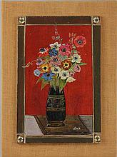 Russian School, floral still life, tempera on panel, signed.