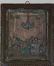 Repousse copper plaque.