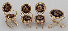 Limoges four piece miniature porcelain furniture set.