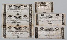 Group of (6) unissued bank post notes, c.1830, to