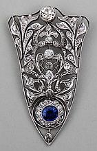 Diamond & sapphire 18k white gold brooch with free