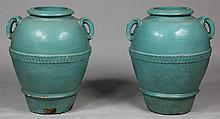 Pair large Continental olive jars in turquoise gla