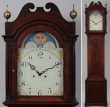 19th century mahogany tall case clock, brass works