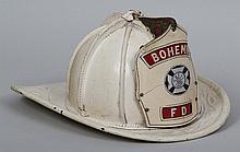 White embossed leather fireman helmet, Bohemia Fir