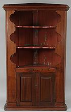 19th century American county pine corner cupboard
