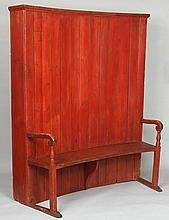 19th century American curved settle and cupboard
