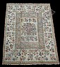 Decorative floral rug with center rectangular medallion, 12ft x 9ft.