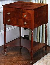 American classical mahogany two drawer work table
