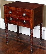 American two drawer mahogany work table