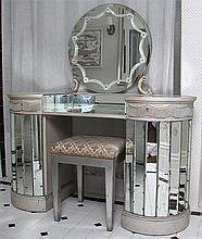 Art Deco mirrored glass vanity with stool