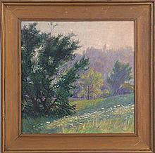 American School (20th century), meadow landscape w