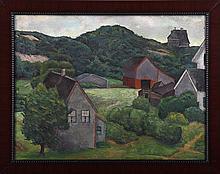 American School (20th century), farm landscape, oi