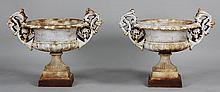 Pair cast iron two handled urns in classical style