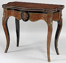 Napoleon III boulle card table with gilt bronze mo