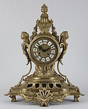 19th century bronze clock, flanked by figures supp