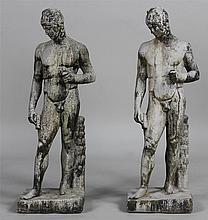 Pair cement Greek garden statues. 35''h.