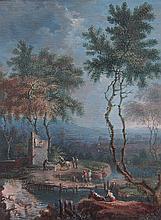Italian School (19th century) miniature landscape,