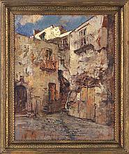 MATTEO SARNO (Italian, 1894-1957), courtyard, oil