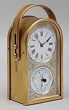 Gilt bronze carriage clock with barometer, having