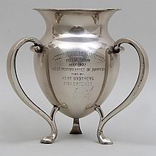 Sterling silver three handled equestrian trophy, R