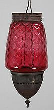 19th century Victorian cranberry glass and brass h