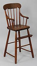 19th century American highchair, stamped O.P. Hask