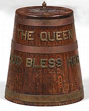 Wood grog bucket, having bronze letters ''The Quee