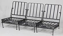 Zinc three section settee, along with fabric cushi