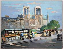 MAURICE F. PERROT (French, b.1892), view of Notre Dame