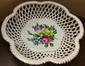 Large Herend Hungary Openwork Basket with Floral Design