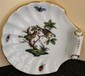 Small Herend Hungary Famous Rothschild Birds Shell Dish with Scroll Handle